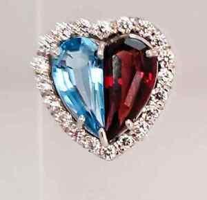 Amazing 5.74CT Half Topaz & Half Garnet With Clear CZ Halo Heart Shape Earrings