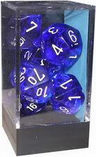 DADI: SET 7  DADI TRASPARENTI - colore BLU/BIANCHI