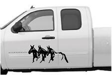 "Running Mules Vinyl Decal Stickers Horse Trailer Truck 10x22"" Set of 2"