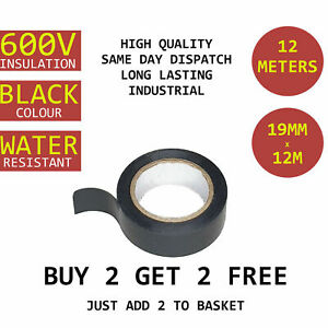 12M Heavy Duty Strong Insulation Wire Tape Adhesive PVC 600V Water Resistant
