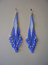 Seed Bead Earrings Native Inspired Colonial Blue & White Handmade In USA  4.5