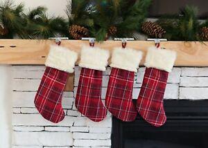 CLEARANCE Christmas Stockings, Plaid and Fur Christmas Stockings