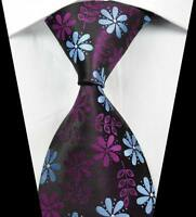 New Classic Florals Rose Blue JACQUARD WOVEN 100% Silk Men's Tie Necktie
