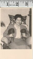 Vintage Photo 1958 Woman with her dachshund pet animals dog # 614