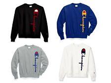 Champion Men's Reverse Weave Sweatshirt Crew 90's Oversized Flocked Script Logo