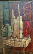 Inos Corradin: Still Life with Teapot & Flowers 1968 / Italian Brazilian S/Oil