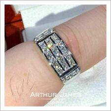 Mens Diamond ring Gemstone Wedding Engagement Band White Gold Fashion Jewellery