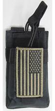 Black MOLLE HT Radio Pouch + USA FLAG Patch Fits ICOM IC-W32A IC-T81A IC-T70A-HD