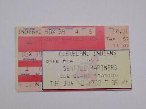Cleveland Indians Seattle Mariners MLB Baseball Vintage Ticket Stub June 2, 1992