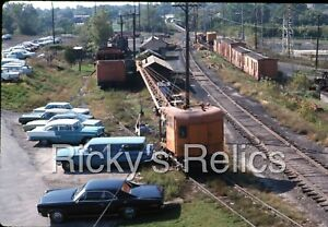 Original Slide CB&Q 1437 Burro Crane Burlington MofW Yard 1969