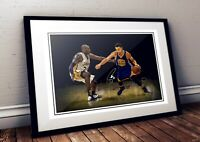 Stephen Curry Golden State Against Kobe NBA Autographed Poster Print. A3 A2 A1