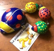 VINTAGE LADYBUG & BABIES WIND UP MECHANICAL TOY~ COLOURFUL TIN METAL ~WORKS FINE