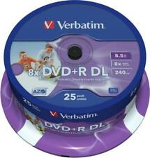25 Verbatim Printable Dual Layer DVD+R 8x DL 8.5GB 43667