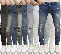 Enzo Mens Designer Branded Ripped Super Stretch Skinny Acid Wash Jeans, BNWT