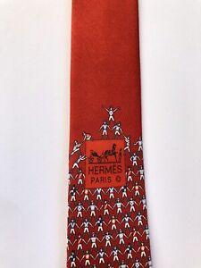 Hermes Paris Red Tie, Collection Tie  626073 FA Silk 100% Authentic 100%
