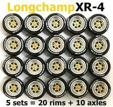 1/64 rubber tires Longchamp XR-4 rim fit Hot Wheels Chevrolet diecast - 5 sets C