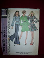 1973 McCALL'S #3720 - LADIES LONG SLEEVE TOP or DRESS & FLARED SKIRT PATTERN  10