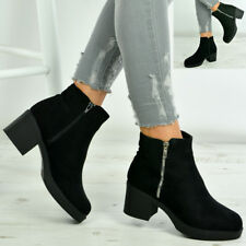 Womens Ankle Boots Ladies Cuban Block Chunky Heel Zip Winter Fashion Shoes Sizes