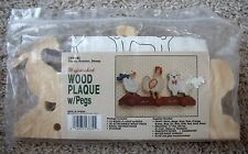Nip Vintage Wang's Goose, Rooster, Sheep Unfinished Wood Plaque w/Pegs