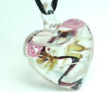 1pc heart lampwork glass bead pendant necklace p005