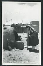 NM Taos RPPC c.1930 PUEBLO INDIAN WOMAN ROASTING CORN in BREAD OVEN by Frasher