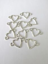 10pcs Coeur Lien Connecteur Bijoux Making Craft UK