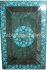 """20""""x40"""" Grill Art Marble Dining Table Top Turquoise Floral Inlay Home Decor B194"""