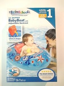 SwimSchool Lil Skipper Baby Boat with Adjustable Backrest Level 1 Blue 6-18 Mos