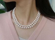 """double strands 8-9mm Akoya white round pearl necklace18""""19""""14K gold clasp"""