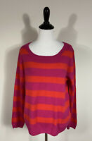 Joie Sweater S Fuchsia Red Striped Scoop Neck Cashmere Lightweight Long Sleeve