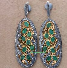 Natural Emerald With Diamond Earring 925 Solid Silver Victorian Gift Earring