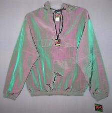 70'S Surf Style Anorak Hooded Jacket One Size New Tag Iridescent Green Purple