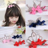 Cute Baby Girls Children Shiny Crown Princess Rabbit Ears Crystal Hair Clip 2019