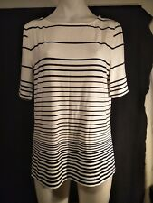 David Lawrence Ladies Top in Ivory and Navy Blue Hoops Size M - BNWTO