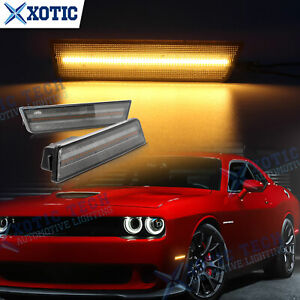 For Dodge Challenger 2008-14 RT SRT LED Front Side Marker Light Lamp Smoke Amber