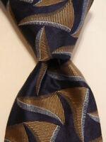 GIORGIO ARMANI Men's 100% Silk Necktie ITALY Luxury Geometric Blue/Brown NWT