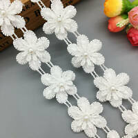 1 yd White Pearl Lace Edge Trim Dress Ribbon Fabric Applique DIY Wedding Sewing