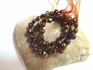 Freshwater Pearl Bracelet Party BROWN Beaded Stretch Bracelet 3 pcs/set 7.50""
