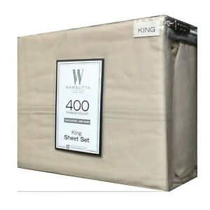 NEW Taupe KING Sheet Set Wamsutta 400 Thread Count 100% Cotton Sateen 4-piece