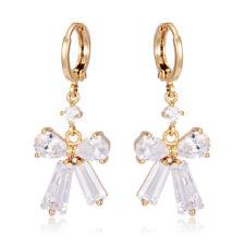 Korean earings mini wings Yellow Gold Filled drop Crystal womens Hoop Earrings
