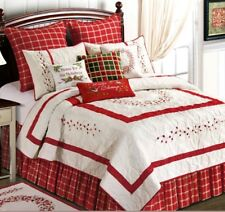 Red Berry Wreath Embroidered Full Queen Quilt Set 4 piece Garden Christmas