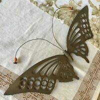 Vintage Ornate Brass Butterfly Moth Wall Hanger Plaque Insect Home Garden Decor
