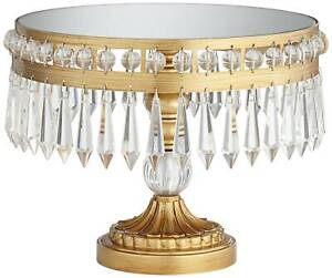 """Antique Gold 8 1/2"""" High Crystal Cake Stand"""