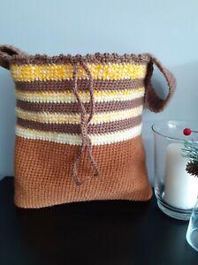 Handmade crochet brown with green shoulder bag with inside pocket-new