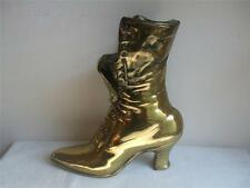 "Victorian Ladies Lace Up Boot Shoe Planter Vase Long Match Holder Brass 10""tall"