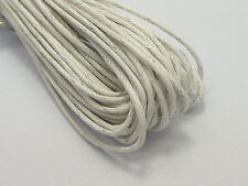 50 Meters White Waxed Cotton Beading Cord 1.5mm Macrame Jewelry String