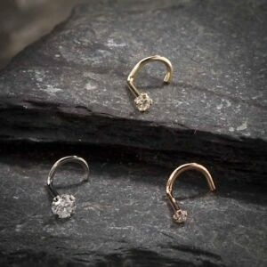 0.015 Ct Diamond Nose Stud 14K White/Rose/Yellow Gold Over Nose Ring Twist Screw