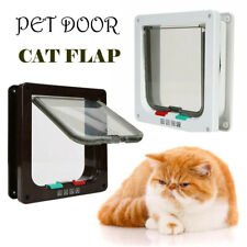 Lockable Cat Kitten Door Security 4 Way Flap Door Plastic Animal Small Pet Gate
