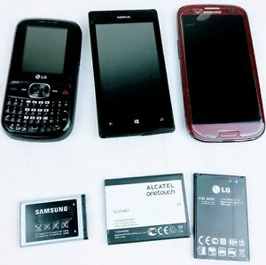Cell phone Mixed Lot of 3, Samsung, LG & Nokia 3 extra batteries