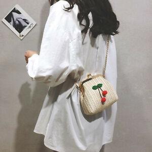 Summer Cherry Straw Messenger Bags Women Handbags Crossbody Shoulder Bag 3